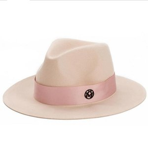 Bayanlar pembe yün feodra şapka kış bayan M mektup yün Caz fedoras kadınlar için pembe şapka büyük ağız kovboy panama fedoras