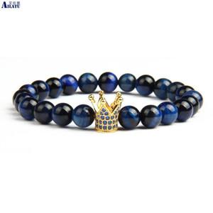 Ailatu marca azul cz gold crown pulseira com 8mm natural azul olho de tigre pedra beads homens jóias por atacado j 190430