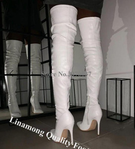 Linamong mujeres elegantes punta estrecha sobre la rodilla del talón de estilete botas de cuero negro largo botas altas de tacón formal del vestido de zapatos de tacones