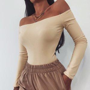 Boyun Kadınlar Tulumlar tulum Kulübü Seksi İnce Katı Renk Skinny Uzun kollu tulum Moda Kadın tulum Slash