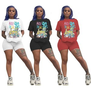 Luxury Womens Cartoon Printed Tracksuit Casual 2 Piece Set Designer Crop T Shirt Tops Short Sleeve Outfits Sport Suits Clothes