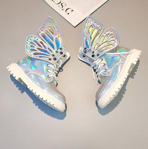 Девушки короткие сапоги дети стерео крылья бабочки мартеновские сапоги бренда дизайнер дети обувь падают новые девушки не скользит ankler на открытом воздухе обувь F10197