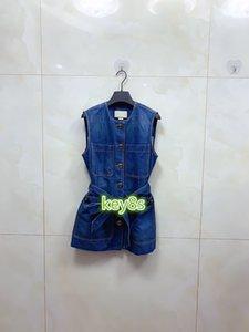 high end women girl denim vest bomber jacket with pocket buttons crew neck sleeveless cardigan coat 2020 fashion vintage outerwear