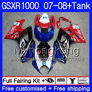7Gifts + Tank Pour SUZUKI GSXR-1000 K7 GSX-R1000 GSXR 1000 07 08 301HM.3 GSXR1000 07 08 Carrosserie GSXR1000 Nouveau cadre bleu rouge 2007 2008 Carénages