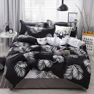 edredones de cama diseñador de juegos de cama cubierta de juego de cama edredón hoja verde set juego de cama hoja funda de edredón + coreana + funda de almohada cubierta de la cama de color rosa