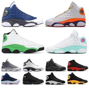 Nike Air Jordan Retro 13 Woemn hommes Chaussures de basket Barons Hologram Aurora Green Island Atmosphère Gris RétroJordanschaussures de sport de sport