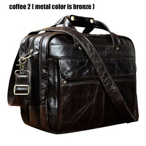 "Top Qualité Hommes En Cuir Véritable Style Antique Porte-Documents Business 15.6 ""Ordinateur Portable Cas Attache Messenger Sacs Portefeuille B1001MX190905"