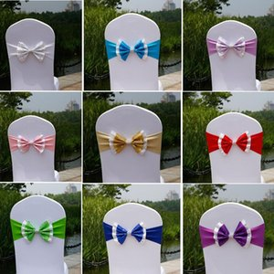 Paillette Wedding Chair Cover Sashes Elastic Spandex Chair Band Bow With Buckle for Weddings Event Party Accessories