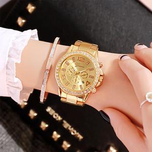 Senhora Graça Luxurious Traga Aço Calendário Traga de pulso de quartzo Student relógio de quartzo de Nice