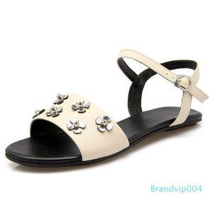 Sexy2019 Sandals Flower Ma'am Flat Size Code Women's 32-40 Small Fresh Bottom Shoes 1674