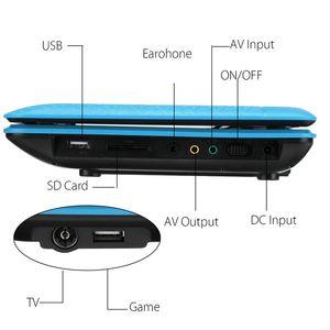 Freeshipping Tragbarer DVD-Player 270 Grad-drehender Schirm aufladbare digitalen Multimedia-Player für Autos TV DVD-Spiel im Freien