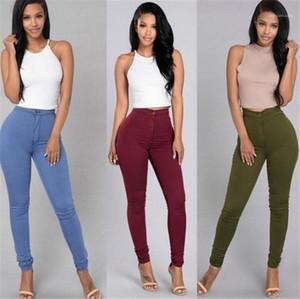 Pantalones flacos de cuerpo entero botón bragas de cintura alta mosca de la manera pantalones de colores puros mujeres del diseñador que lápiz