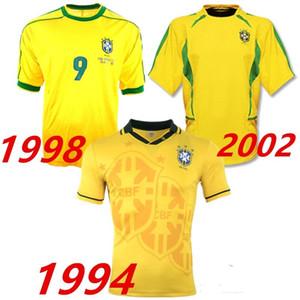1994 1998 2002 브라질 레트로 버전 축구 유니폼 월드컵 빈티지 94 98 02 클래식 축구 셔츠 Maillot Brasil Camisetas de Futbol