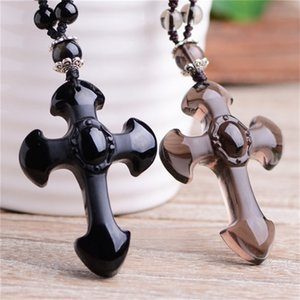 Hot Natural Obsidian Carved Cross Amulet Pendant Necklace Hand Pendant with Lucky Free Beads Chain For Women Men Jewelry birthday present