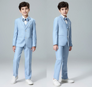 Boy Blazers Suits Flower Girl Wedding Suits Size 2T-14T Boy Gray Formal Suits Boys Clothing Set Kids Formal Classic Costume