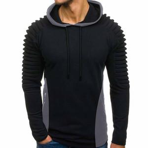 2019 New Sweatshirt Men Splicing Autumn Winter Pleats Slim Fit Raglan Long Sleeve Hoodie Top Blouse Hoodies for Male