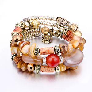3Pcs  set of European and American vintage multi-layer crystal bracelet women's fashion Bohemian natural color stone beaded bracelet