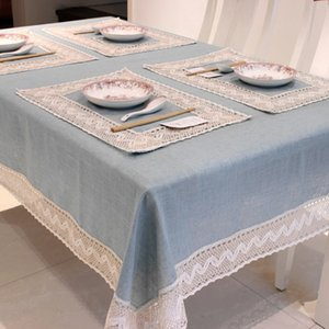 Simple Europe Blue Tablecloth Linen Cotton Lace Edge Rectangular Dust Proof Table Covers for Tea Table Fridge High Quality