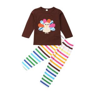 2019 Imcute Thanksgiving vêtements en coton enfant nouveau-né bébé garçon filles Vêtements Hauts Romper rayé Turquie long Pantalons Tenues Set