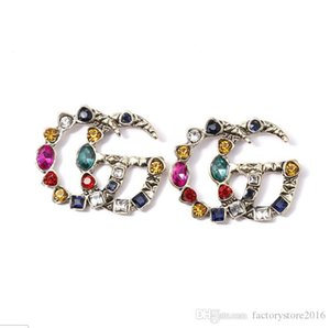 Famous Designer Earrings with Crystal Big Earrings Jewelry for Women Red Green White Yellow Colorful Stone Gift