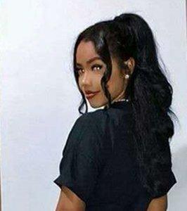 Nuova ondata corpo sciolto arrivo soffio ponytails con clip in capelli umani accessorio corti Big Fluffy Ponytails per le donne 140g nero