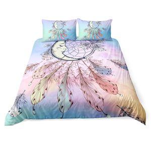 Big Dreamcatcher Colors 침구 세트 3 piece 드림 캐처 듀벳 커버 세트 Boho Doona 커버 Hippie Bedspread