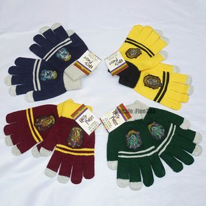 Gants Halloween Harry Potter College moufles Serpentard Gryffondor tricot rayé Écran tactile insigne Cosplay Gants Finger enfants