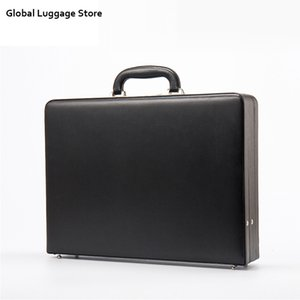 Leather Mens Attach Briefcase Expandable Laptop Case Password Multifunctional Toolbox Fashion Suitcase Black Hot