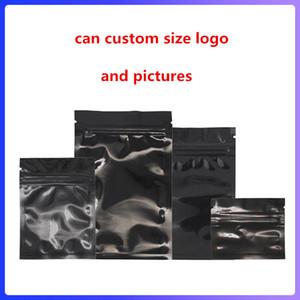 Günlük Yaşamda veya Parti için Açılıp kapanabilir Koku Geçirmez mylar Çanta Folyo Kılıfı Çanta Poşet Alüminyum Folyo çanta Siyah Malzemeleri