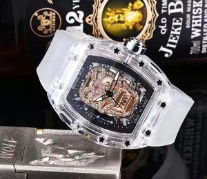 Santo cabeça do diamante relógio Richard 3 AMen's suíço marca relógio de pulso Men luxo fantasmas homens mestre Transparente qualidade shell assistir hommes orologio