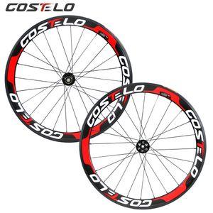 Costelo Thru Axle 6 볼트 디스크 브레이크 탄소 도로 자전거 바퀴 700C 50mm Clincher Carbon Wheelset Tubuar 25mm U 형 원형 교차