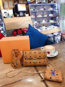 diseño de lujoMCMbolsos bolsas de cuero de moda de cuero Bolsas de hombro mensajero celebridad bolsos de las señoras de embalaje caja de regalo