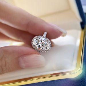 S925 prata pura Top anel de design de qualidade paris com 3oct oval decorado com diamantes mulheres charme jóias dom PS6416 transporte livre grande