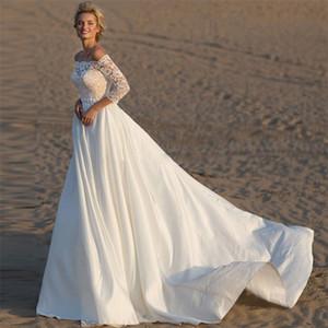 Elegante Bateau escote A-Line vestidos de novia de la boda usan 2020 Modest encaje satinado vestidos de novia con bolsillo de Mujeres con la cinta