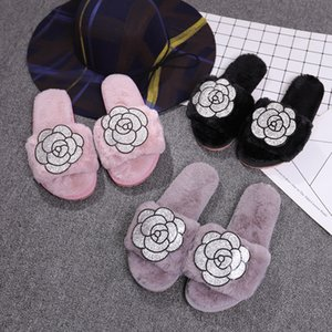 glitter camellia fluffy slippers women crystal rose flower fur sandals indoor soft plush furry slides terliky675