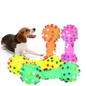 Köpek Oyuncakları Renkli Noktalı Dumbbell Şekilli Sesing Oyuncaklar Sıkmak Squeaky Faux Kemik Pet Köpekler için Çiğnemek Oyuncaklar