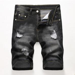 Los hombres baratos Diseñador Slim Ripped Black Denim Shorts Distressed Short Jeans Bleached Retro Denim Shorts Tamaño grande 42 Pantalones JB3