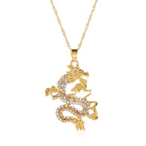 Дракон Модель Подвеска Ожерелье Женщина Мужчины цвет золото Rhinestone талисман украшение Лаки Symbol Подарки Dragon Long Подвеска
