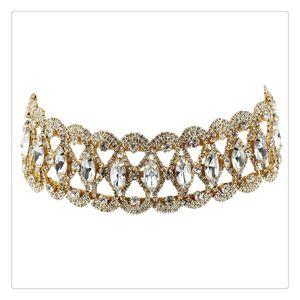 Hot Wide Waterdrop Diamond Inlaid Choker Jewelry Rhinestone Fashion Women Necklace Silver As A Gift For Girlfriend