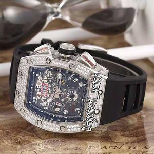 New RM011 011 ROBERTO MANCINI Mens Felipe Massa Flyback de aço do diamante moldura Big Data Automatic Mens Watch Black Rubber Hi_watch 11c3