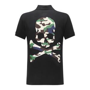 DUYOU nuova manica corta shirt uomo marca di abbigliamento mimetico cranio polo casuali maschile di alta qualità 100% cotone ACP703084