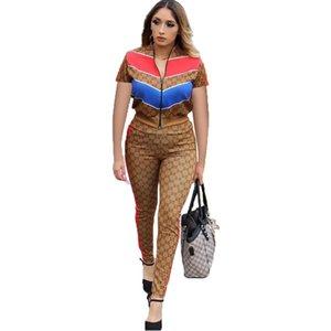 الأزياء التباين اللون المرقعة تراكسويت المرأة زيبر حتى قمم + سروال نحيل تتسابق مثير اثنين من قطعة تعيين Bodycon كلوبوير