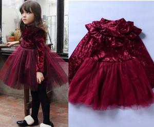 Çocuk Kız Prenses Kadife Elbise Uzun Kollu fırfır Katı Dantel Tül Tutu Elbise Champagne Claret 2 Renkler Bahar Kış Boutique Güz