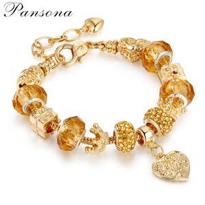 Les nouvelles femmes bijoux plaqué or résistant couleur cristal de diamant Bracelet à billes en alliage de bricolage en forme de coeur Bracelet en perles