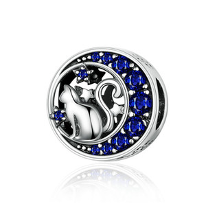Fashion Blue CZ 925 Sterling Silver Moon Cat Round Bead Charm Fit snake Chain Bracelet Pave Setting Fit Pandora