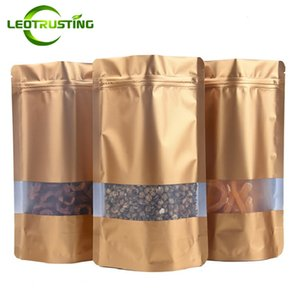 Leotrusting 100 unids / lote Stand up Matt Gold Foil Ventana Ziplock Bag Gold Foil Food Powder Snack Nuts Coffee Storage