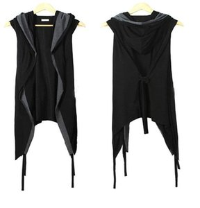 New Novelty Men's Fake-two Pieces Tops Male Fashion Popular Sleeveless Hooded Vests Cardigan Man Hip Hop Sweater