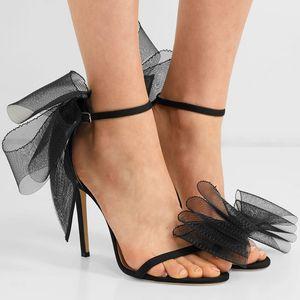 Satin-Schuhe Frauen-süße Big-Bogen-Knoten Elegante Knöchelriemen-Partei-Schuhe Schwarze High Heels White Wedding geöffnete Zehe