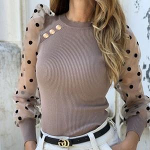 Moda para mujer nueva malla Puff Manga diseñador camisetas Mujeres Botón dulce con paneles delgados atractivos puntos de cuello redondo de las camisas juntan
