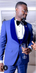Popular Blue Men Wedding Tuxedos Velvet Shawl Lapel Slim Fit Groom Tuxedos 19 Style Men Dinner Darty 3 Piece Suit(Jacket+Pants+Tie+Vest) 140